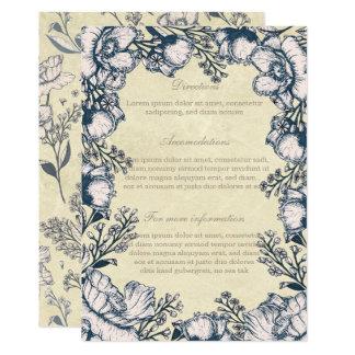 Direcciones florales del boda de la flor rústica invitación 12,7 x 17,8 cm