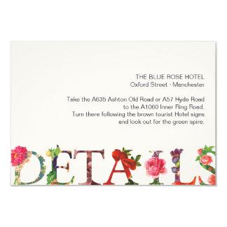 Direcciones florales modernas del boda de la invitación 8,9 x 12,7 cm