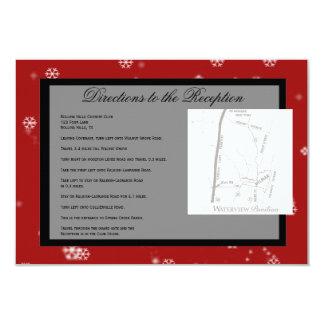 Direcciones rojas del boda de los copos de nieve invitación 8,9 x 12,7 cm