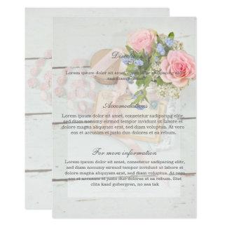 Direcciones románticas del boda de la flor de la invitación 12,7 x 17,8 cm