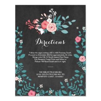 Direcciones rosadas del boda de la floración y de invitación 10,8 x 13,9 cm