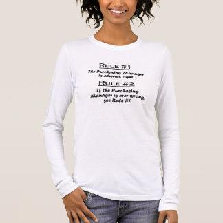 Director de compras de la regla camiseta de manga larga