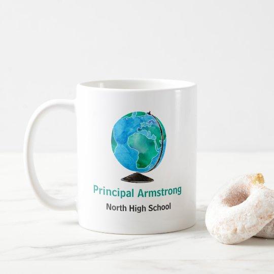 Director de escuela personalizado globo de la taza de café