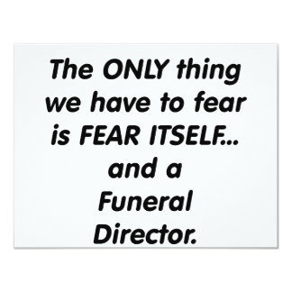 director de funeraria del miedo invitación 10,8 x 13,9 cm