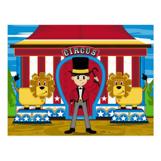 Director de pista de circo y leones del circo de postal