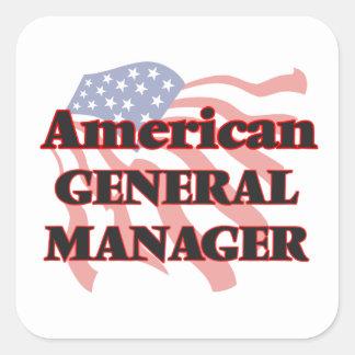 Director general americano pegatina cuadrada