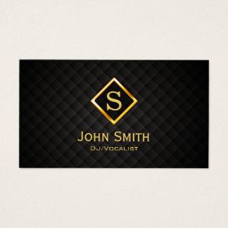 Disc jockey del monograma del diamante del oro de tarjeta de visita