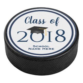 Disco De Hockey Clase de los azules marinos de la graduación 2018