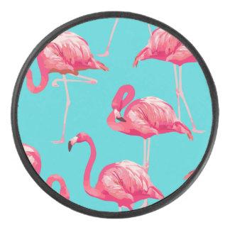 Disco De Hockey Pájaros rosados del flamenco en fondo de la