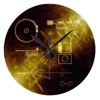 Disco de oro del viajero reloj redondo grande