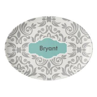 Disco de plata personalizado elegante de la fuente de porcelana