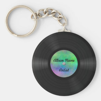 Disco de vinilo de encargo falso llavero redondo tipo chapa