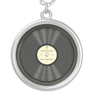 Disco de vinilo personalizado del micrófono del colgante redondo