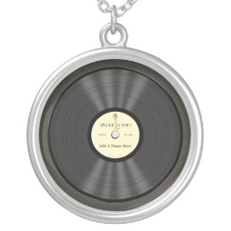 Disco de vinilo personalizado del micrófono del collar plateado