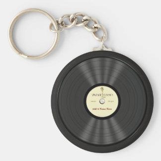 Disco de vinilo personalizado del micrófono del vi llavero redondo tipo chapa