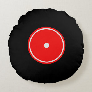 Disco de vinilo retro amortiguador redondo rojo y cojín redondo