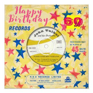 Disco de vinilo retro de encargo 45 RPM del feliz Invitación 13,3 Cm X 13,3cm