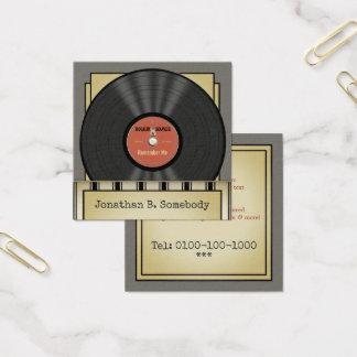Disco de vinilo retro de la roca tarjeta de visita cuadrada