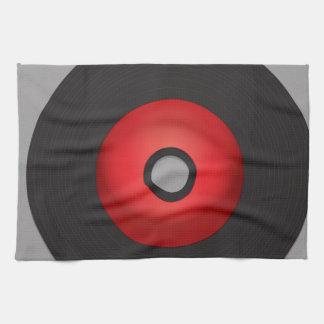 Disco de vinilo rojo de la escuela vieja paño de cocina