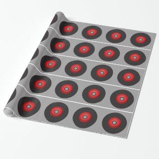 Disco de vinilo rojo de la escuela vieja papel de regalo