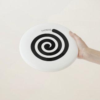 Disco volador espiral hipnótico con nombre de