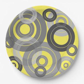 Discos de vinilo retros de los anillos plato de papel