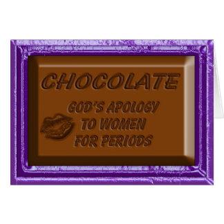 Disculpa de la tarjeta de nota del chocolate a las