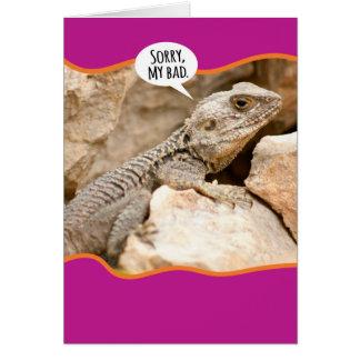 Disculpa divertida de la disfunción del reptil tarjeta de felicitación