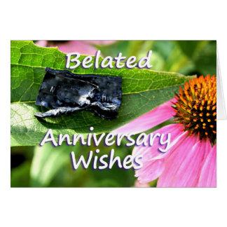 Disculpa-personalizar tardío del aniversario tarjeta de felicitación