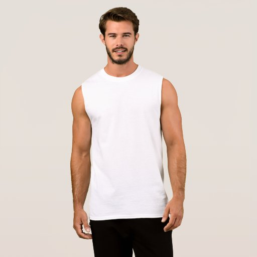 Camiseta de algodón de hombre sin mangas, Blanco