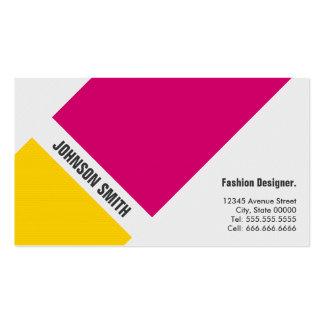 Diseñador de moda - amarillo rosado simple tarjetas de visita