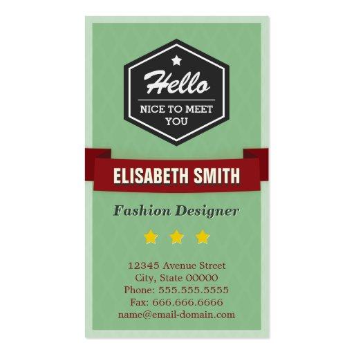 Diseñador de moda - elegante retro del vintage plantilla de tarjeta personal