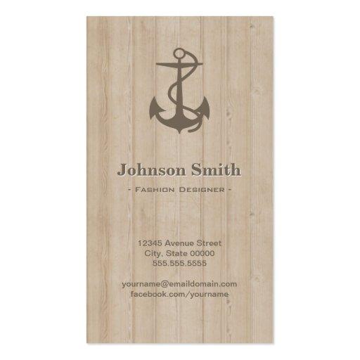 Diseñador de moda - madera náutica del ancla tarjeta de visita