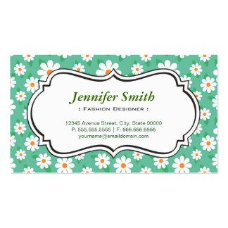 Diseñador de moda - margarita verde elegante tarjetas de visita