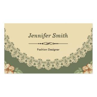 Diseñador de moda - moda del vintage floral tarjetas de visita