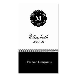 Diseñador de moda - monograma negro elegante del tarjetas de visita