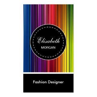 Diseñador de moda - rayas coloridas modernas tarjetas de visita