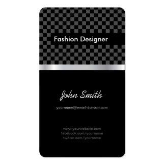 Diseñador de moda - tablero de ajedrez negro elega tarjetas de visita