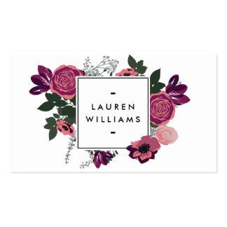 Diseñador floral moderno del blanco del adorno del tarjetas de visita