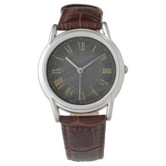 Diseñadores negros rústicos del número romano del reloj de pulsera