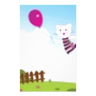 Diseñadores que vuelan el gatito con el globo papelería