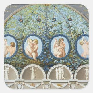 Diseñe para un fresco del techo, c.1780 publicado pegatina cuadrada