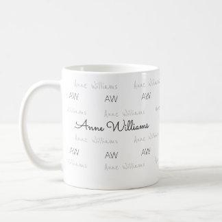 diseñe su propio perfil de nombre limpio y claro taza de café