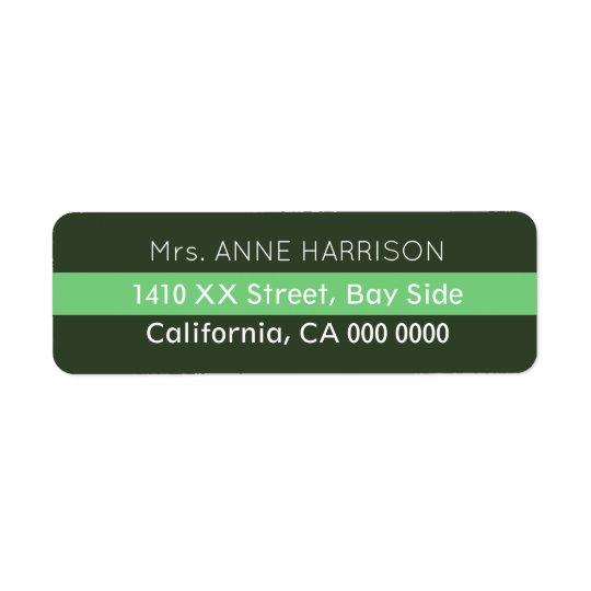 diseñe un verde rayado etiqueta de remite