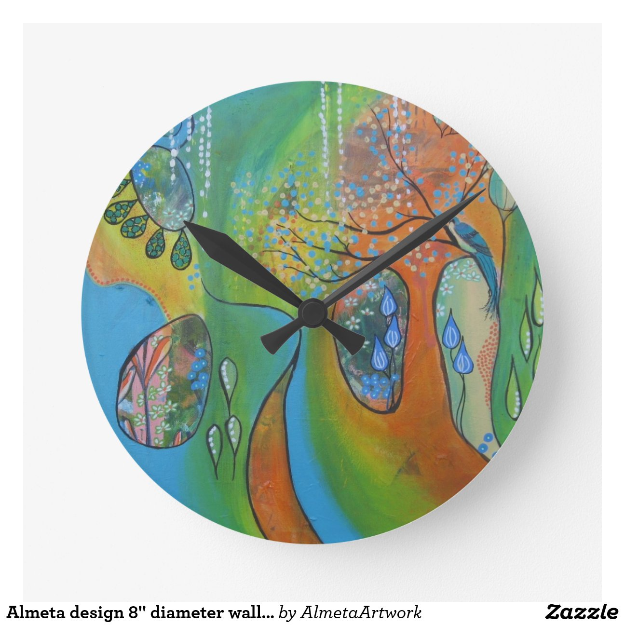 Dise o 8 de almeta reloj de pared del di metro zazzle - Reloj de pared de diseno ...