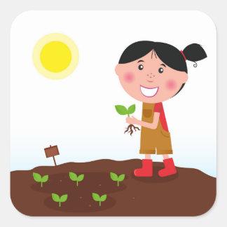 Diseño a mano: Chica del jardín Pegatina Cuadrada