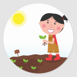 Diseño a mano: Chica del jardín Pegatina Redonda