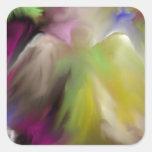 Diseño abstracto del ángel calcomanía cuadrada