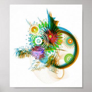Diseño abstracto del cepillo póster
