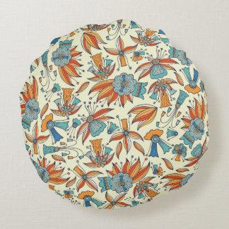 Diseño abstracto del estampado de flores cojín redondo